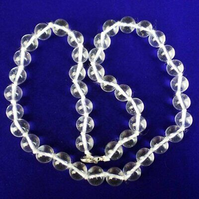 9mm White Crystal Round Ball Pendant Bead NeckLace 17.5 Inch G31990