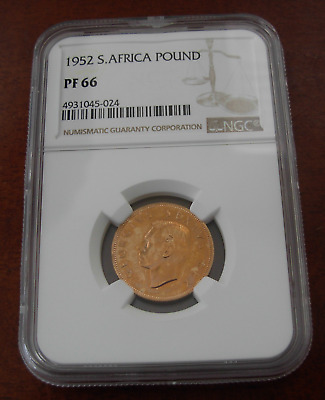 South Africa 1952 Gold 1 Pond NGC PF66 George VI