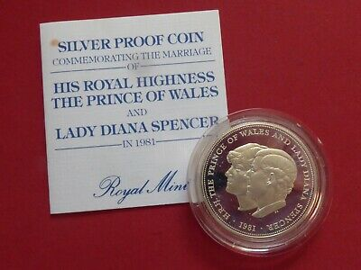 1981 Charles & Diana Crown - Proof In Silver In Protective Capsule + Certificate