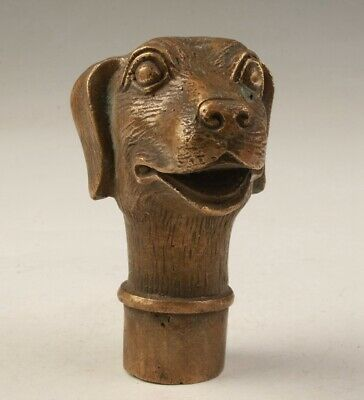 China Old Bronze Hand Casting Dog Cane Walking Stick Head Gift Collec Handle