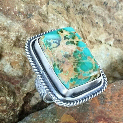 Antique Silver Natural Turquoise Gemstone feather Wedding Jewelry Ring size 10