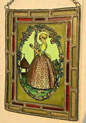 EARLY 1890's ANTIQUE STAINED GLASS WINDOW REVERSE-PAINTED PICTURE - BEAUTY!
