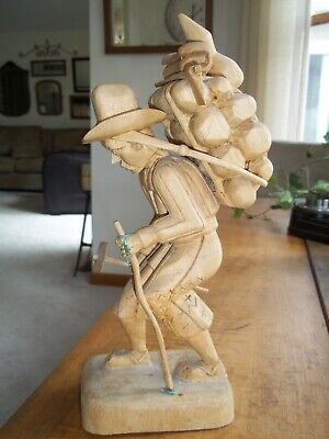 "Vintage Hand Carved 11"" Wooden Statue Old Man CARRYING WOOD/AXE/HOE Folk Art"