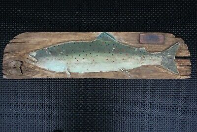 Antique Wood Trout Fish Trophy Sign Dated 1913 Primitive Old Folk Art Lure Decoy