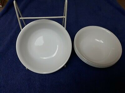 """Pre-Owned 4-Corelle WINTER FROST WHITE Corning Ware Soup/Cereal Bowls 6 1/4"""""""