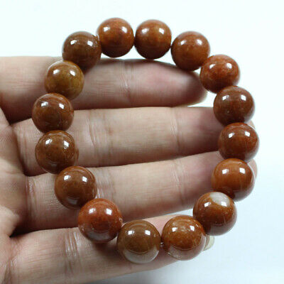 Certified Grade A  Jadeite Jade Brown 14mm Beads hand chain Bracelets  j812