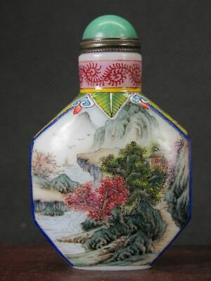 Excellent Chinese Scenery Hand Painted Peking Enamel Glass Snuff Bottle
