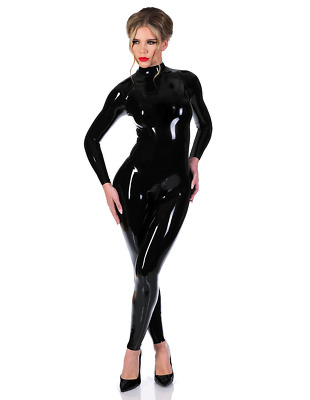 Latex Rubber Cosplay Black and Red Laces Bodysuit Overall Catsuit S-XXL 0.4mm