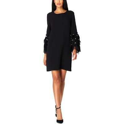 Tahari ASL Womens Black Feather Embellished Party Cocktail Dress 8 BHFO 9223