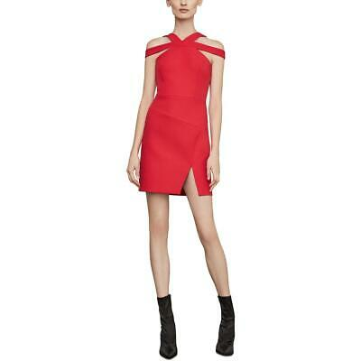 BCBG Max Azria Womens Eve Red Woven Cold Shoulder Cocktail Dress 8 BHFO 4834