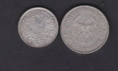 Germany, 1915 silver mark coin UNC & 1934 5 Reich shilling coins