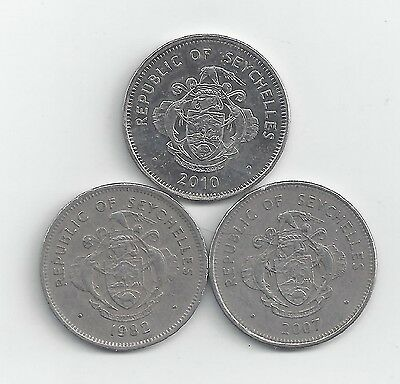 3 DIFFERENT 1 RUPEE COINS from SEYCHELLES (1982, 2007 & 2010).
