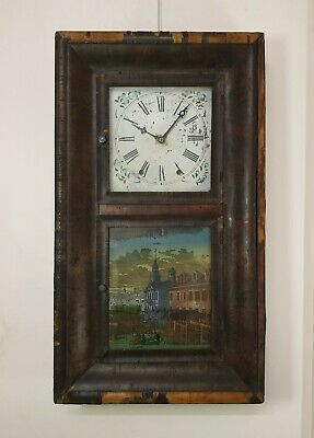 antique America Waterbury weights driven 7day chime wall clock. good working