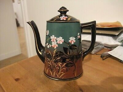 Antique Victorian Coffee Pot  Floral Black Gold Glazed