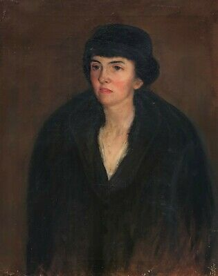 Portrait of a Lady in Fur Antique Oil Painting Early 20th Century English School