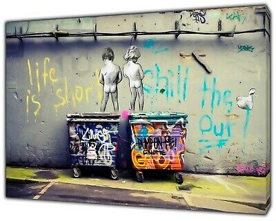 Banksy LIfe is short kids Peeing Art Reprint on Framed Canvas Wall Art Decor