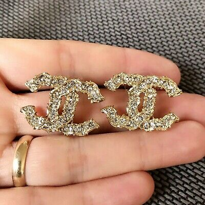 Authentic Chanel Classic CC Logo Crystal Earrings
