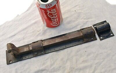 "Large Chunky Reclaimed 11"" Long Spring Tensioned Metal Iron Door Lock Bolt"