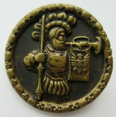 Wonderful LARGE Antique~ Vtg Victorian Metal Picture BUTTON Man Blowing HORN (N)