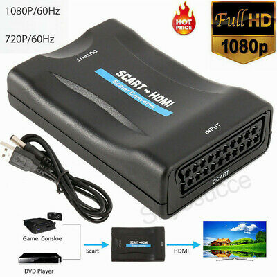 SCART to 1080P HDMI Audio Converter Scaler Box & USB Cable HDTV HD Monitor