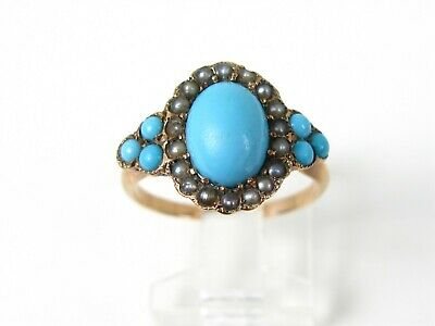 Antique Victorian 10k Yellow Gold Turquoise & Seed Pearl Ladies Ring 2.8g