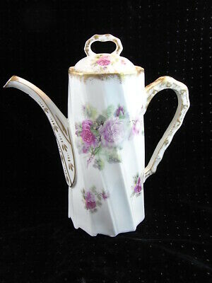 Ancienne Verseuse Cafetiere Theiere 12 Pans Porcelaine Paris Meissen Rose Peinte