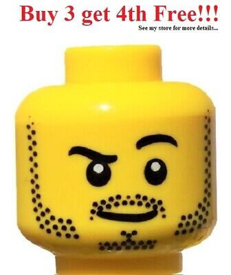 Lego Yellow Minifig Head Dual Sided Black Thick Brows Stubble Open Mouth