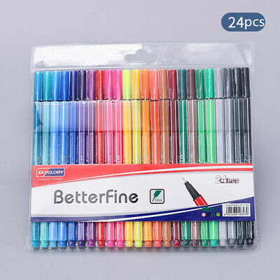 24 Color Watercolor Drawing Art Marker Pen Set Kids Painting Stationery Supply