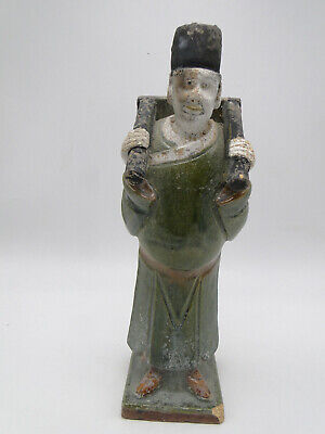 Antique Chinese Oriental Glazed Pottery Man Figurine 11in