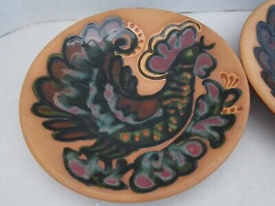 "2 Rooster vintage pottery plates. 8-3/4"". red clay. wall display. Chicken Hen"