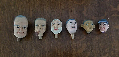 Unique hand carved, hand painted Wood Men's Heads