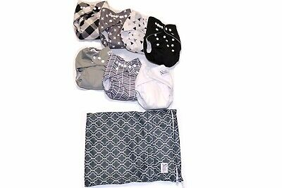 Unisex Adjustable Baby Cloth Pocket Diapers Nora's Nursery Bamboo Inserts & Bag