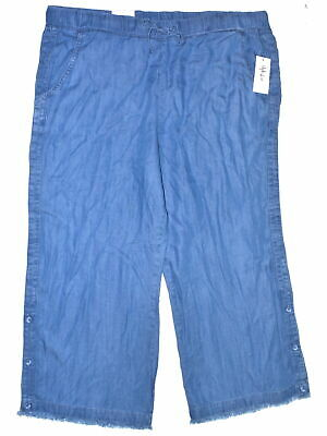 Style & Co. 2059 Size XL Womens NEW Blue Textured Wide Leg Pants Denim Crop $54
