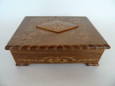 Antique Ornate French Wooden Marquetry Inlay Jewellery  Box
