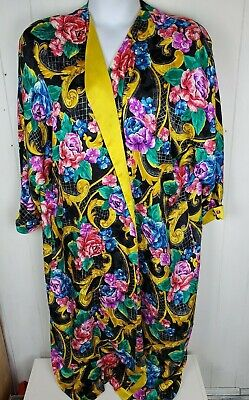 vtg Victorias Secret Robe 100% Silk colorful floral print womens one size