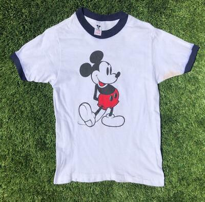 VTG 80s White Walt Disney Mickey Mouse Ringer Combed Cotton Graphic T Shirt S