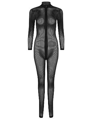 Women's Striped Lingerie Fully Bodyhose Bodystocking Catsuit Bodysuit Jumpsuit