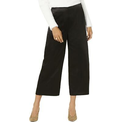 Bar III Womens Black Satin Cropped Ankle Wide Leg Pants Trousers 10 BHFO 4270