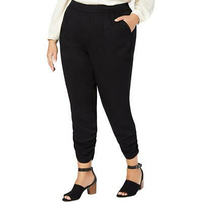 Style & Co. Womens Black Ruched Cropped Casual Jogger Pants Plus 22W BHFO 2807