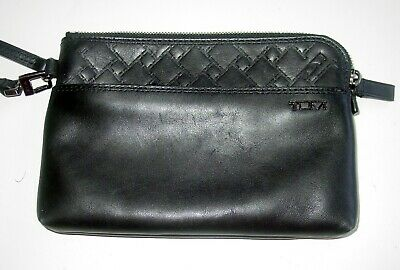 Auth Tumi Black Leather Pocket Zip Top Wristlet With Strap- Excellent Condition