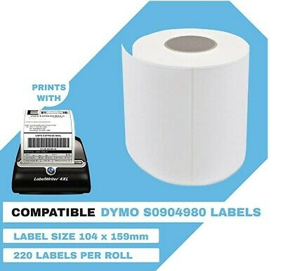 10 Pack Dymo Compatible 4XL S0904980 Shipping Labels 104x159mm 220 Labels a Roll