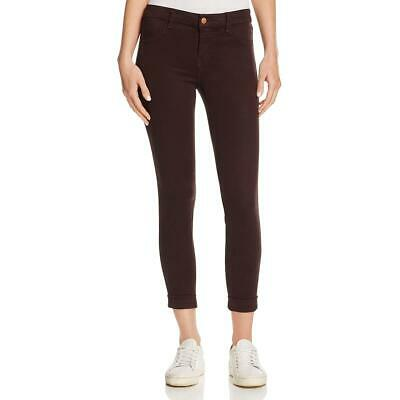 J Brand Womens Anja Brown Sateen Cuffed Mid-Rise Cropped Pants 24 BHFO 3403