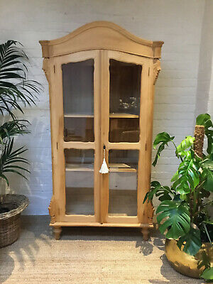 Stunning Solid Pine Display Cabinet / Armoire Linen Cupboard / Wardrobe