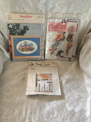 Royal Doulton Bunnykins Cross Stitch, Bunka Punch, Dimensional Embroidery Book