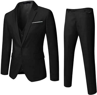 MAGE MALE Mens Solid 3-Piece Suit Slim Fit Notch Lapel One Button Tuxedo Blazer
