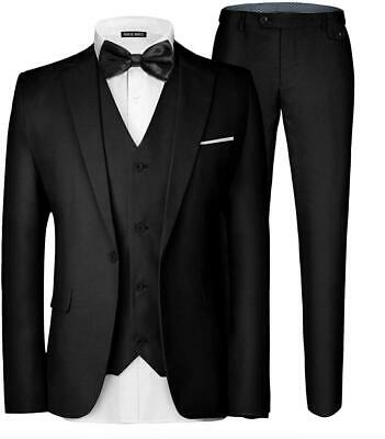 MAGE MALE Men's 3 Pieces Suit Elegant Solid One Button Slim Fit Single Breasted