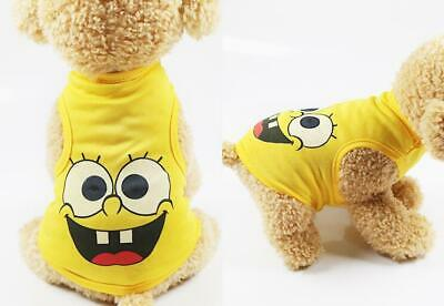Small Dog PUPPY APPAREL Mesh breathable Vest clothes Yellow Cartoon printed S