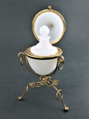 Antique WHITE Opaline Glass EGG Perfume Casket scent bottle Brass Frame FRANCE