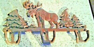 Vintage Ornate Cast Iron Wall Hanging Moose & Trees Coat Rack With 3 Double Hook
