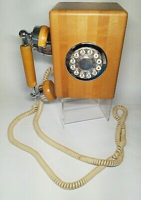 Vintage Farm House Western Electric WALL PHONE Maple Butcher Block Telephone